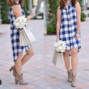 Blue and White Plaid High Low Dress